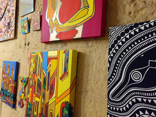 Colorful paintings at Cocohub malta