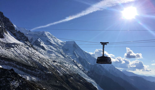 Cable car when dog hiking French Alps