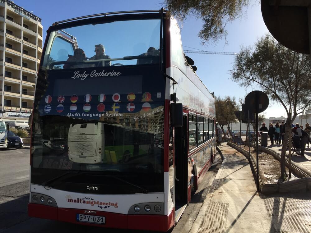 tourist bus during dog travel Malta