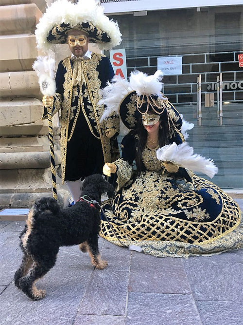 Dog sniffing two people dressed in historic costumes with a lot of gold on Malta