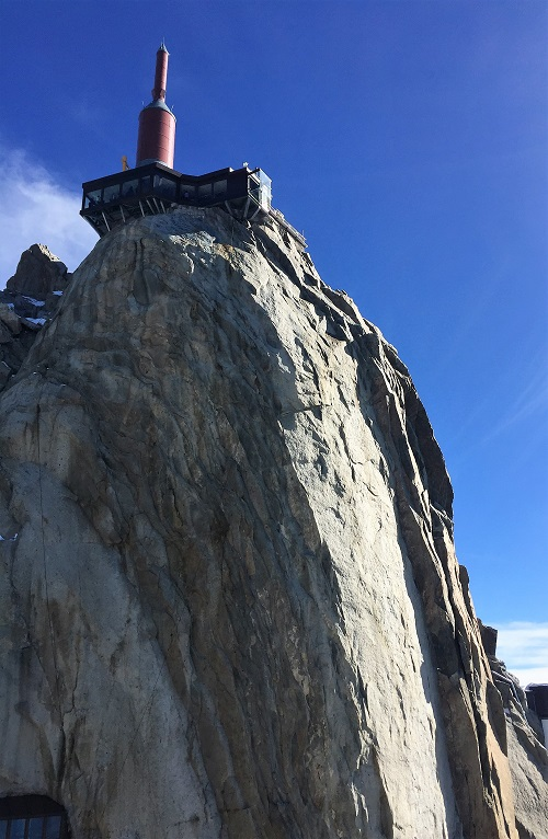 Building on top of cliff in French Alps