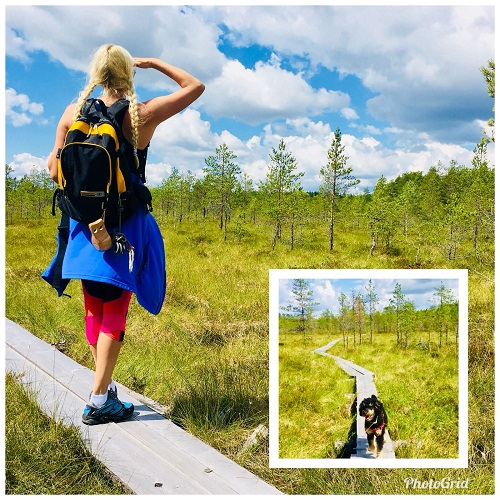 Girl and dog lookig out over boarded swamp in Finland