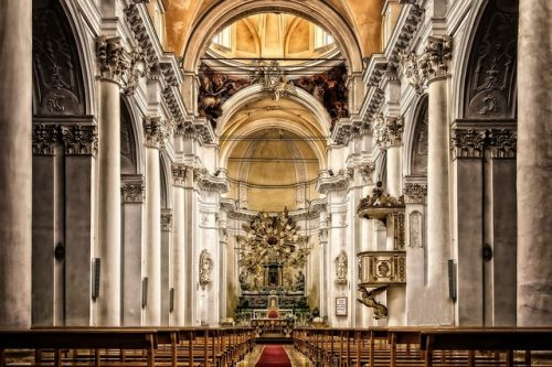 Inside of cathedral in Sicily