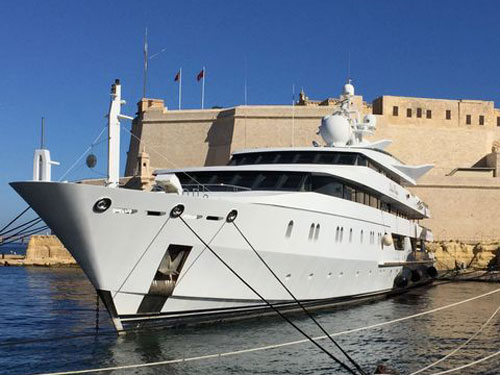 Dog sees very large super yacht in Malta